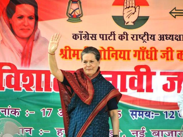 Congress president Sonia Gandhi at an election rally in Buxar, Bihar on Saturday. Photo: Ranjeet Kumar