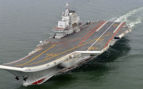 Chinese aircraft carrier Liaoning cruises for a test on the sea. Photo: AP