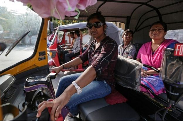 Indian woman auto rickshaw driver Rajani Jadhav pose for photographs during her training session of rickshaw driving in Mumbai, India, 14 April 2017.
