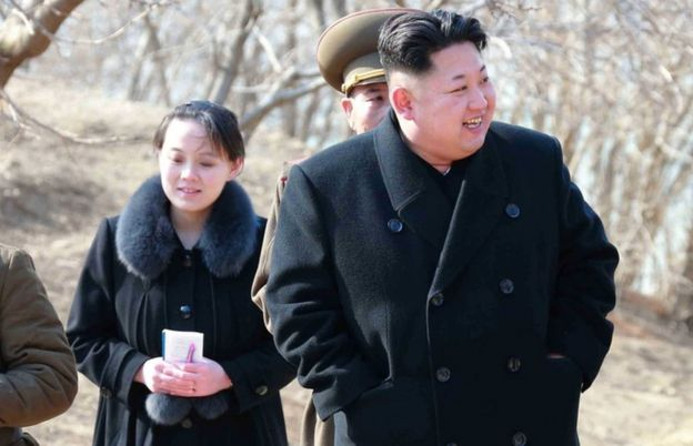 North Korean leader Kim Jong-Un with his sister Kim Yo-Jong